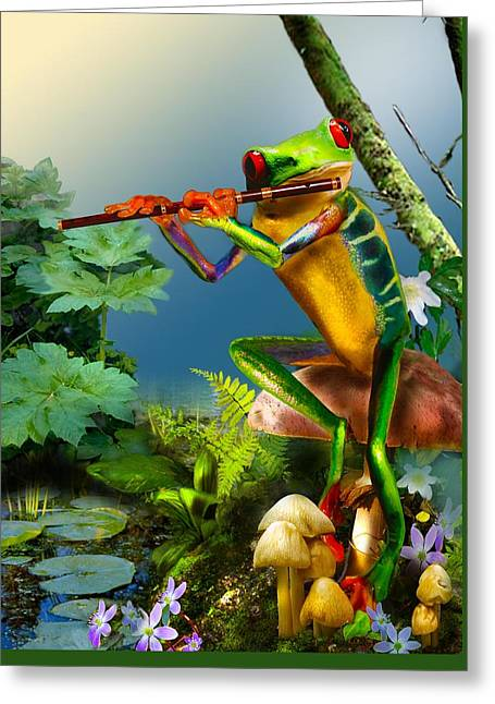 Humorous Greeting Cards Greeting Cards - Humorous Tree Frog Playing the Flute  Greeting Card by Gina Femrite