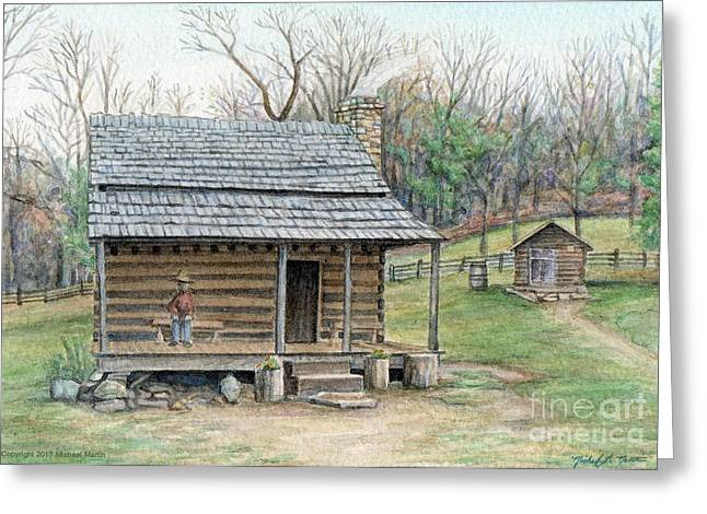 Early American Dwellings Greeting Cards - Humpback Cabin Greeting Card by Michael  Martin