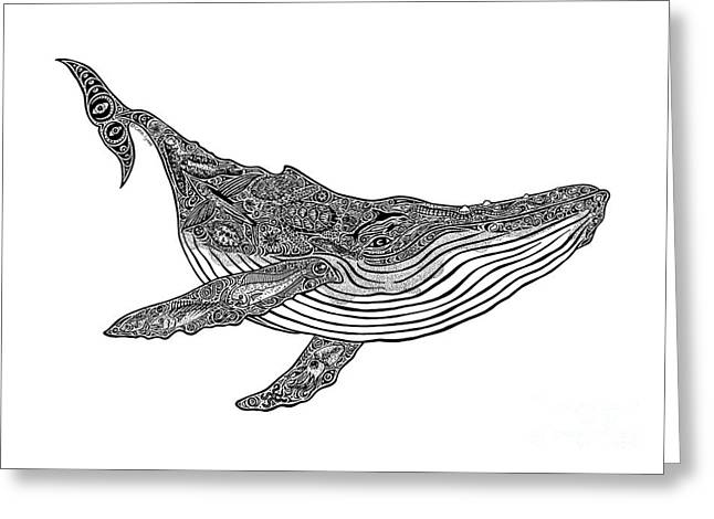 Diving Drawings Greeting Cards - Humpback Greeting Card by Carol Lynne