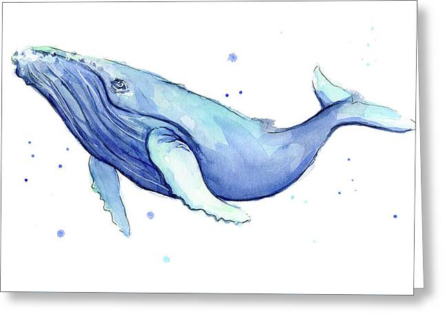 Humpback Whale Watercolor Greeting Card by Olga Shvartsur