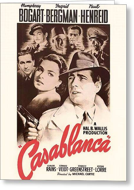 1940s Movies Greeting Cards - Humphrey Bogard and Ingrid Bergman in Casablanca 1942 Greeting Card by Mountain Dreams