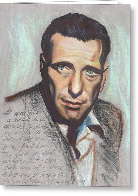 Chess Piece Paintings Greeting Cards - Humphrey Bogart  Not a chess piece was out of place Greeting Card by Kean Butterfield