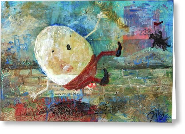 Nursery Rhyme Mixed Media Greeting Cards - Humpty Dumpty Greeting Card by Jennifer Kelly