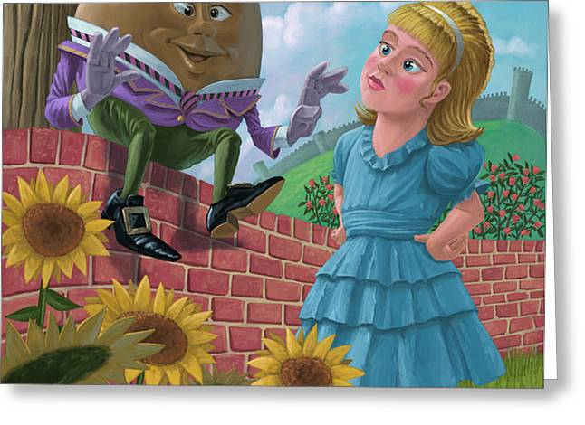 humpty dumpty on wall with alice Greeting Card by Martin Davey