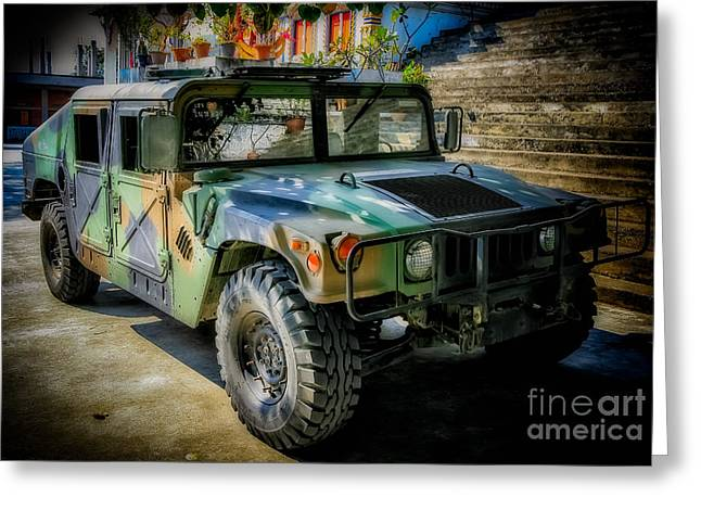 Car Grill Greeting Cards - Humvee Greeting Card by Adrian Evans