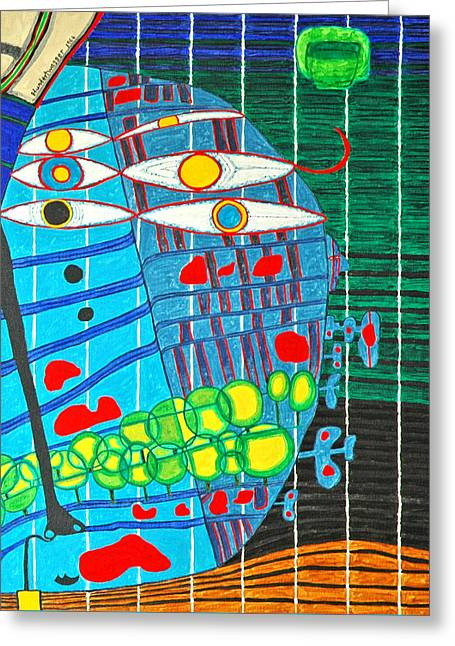 Hundertwasser Blue Moon Atlantis Escape To Outer Space In 3d By J.j.b Greeting Card by Jesse Jackson Brown