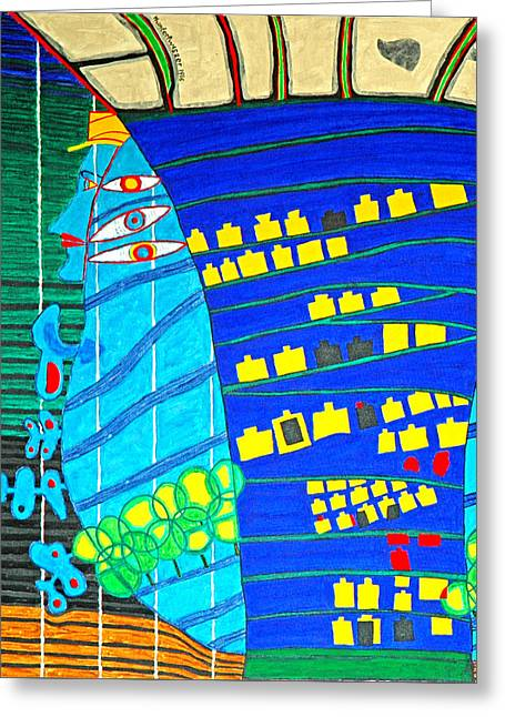 Hundertwasser Blue Moon Atlantis Escape To Outer Space Greeting Card by Jesse Jackson Brown