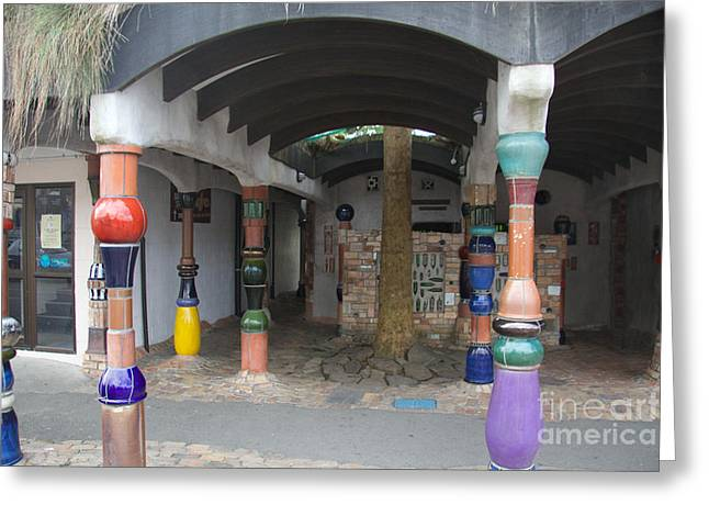 Hundertwasser Toilet Block Greeting Card by Anthony Forster