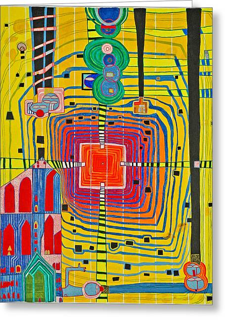 Hundertwassers Close Up Of Infinity Tagores Sun Greeting Card by Jesse Jackson Brown