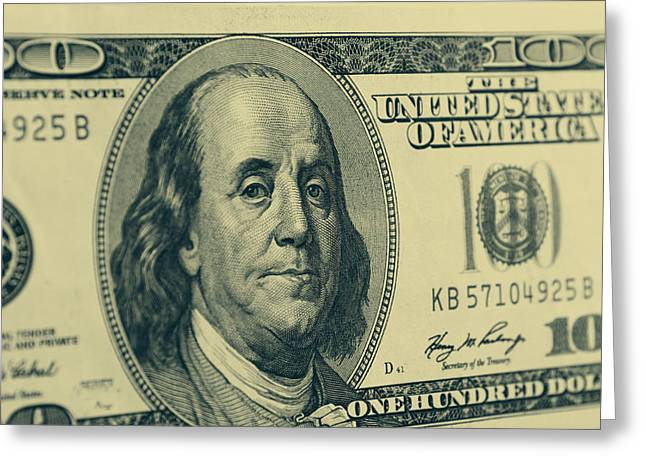 Franklin Greeting Cards - Hundred dollar banknote Greeting Card by Les Cunliffe