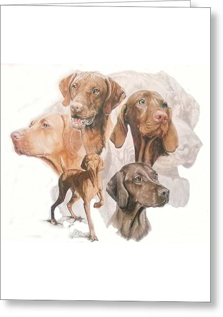Hungarian Vizsla W/ghost Greeting Card by Barbara Keith