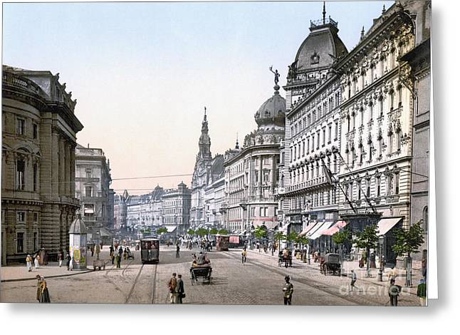 Horse And Buggy Greeting Cards - HUNGARY: BUDAPEST, c1895 Greeting Card by Granger