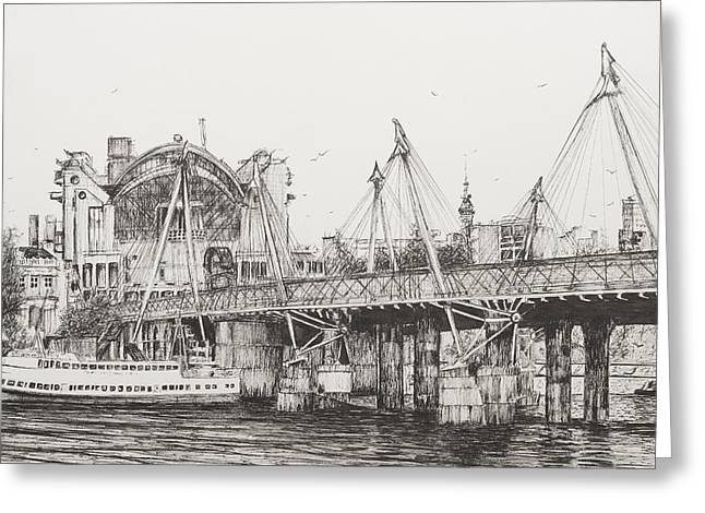 Pen And Ink Drawing Greeting Cards - Hungerford Bridge Greeting Card by Vincent Alexander Booth