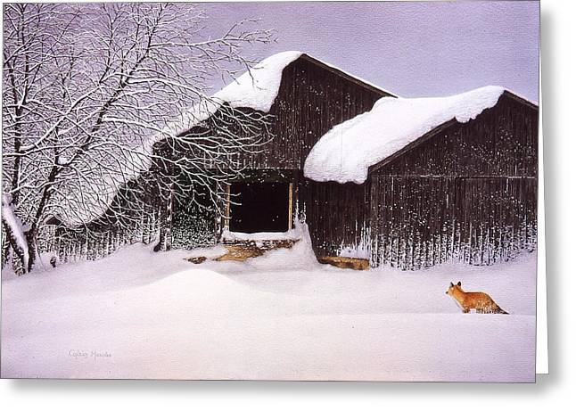 Snow Drifts Greeting Cards - Hungry Hunter Greeting Card by Conrad Mieschke
