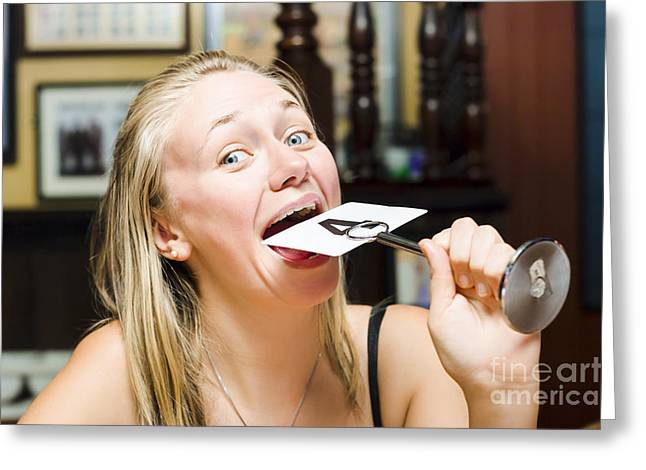 Ordering Greeting Cards - Hungry woman in restaurant eating table number  Greeting Card by Ryan Jorgensen