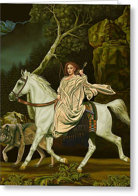 Goddess Print Greeting Cards - Hunt Greeting Card by Pamela Wells