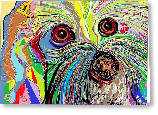 Puppies Mixed Media Greeting Cards - Hunter . . . Hes a Shoe Man Greeting Card by Eloise Schneider