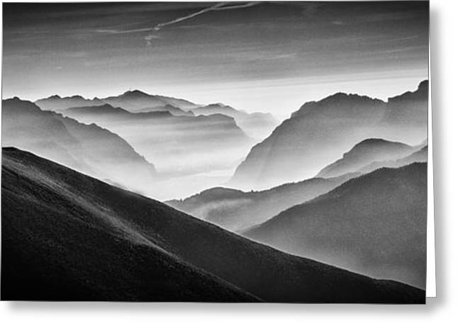 Hunter Greeting Cards - Hunter In The Fog Bw Greeting Card by Vito Guarino