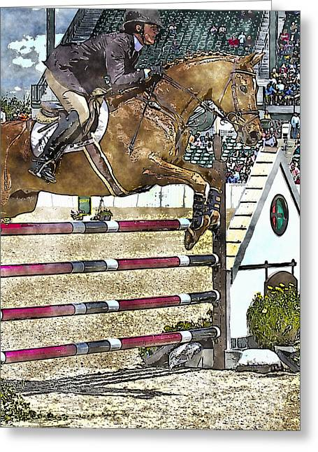 Recently Sold -  - Lessons Greeting Cards - Hunter Jumper Equestrian Greeting Card by Carrie Cranwill
