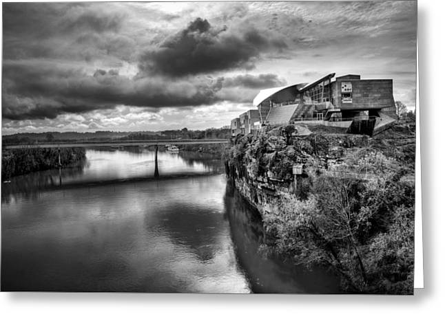Hunter Museum And Tennessee River In Black And White Greeting Card by Greg Mimbs
