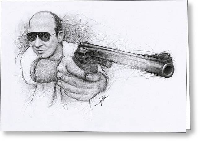 Las Vegas Drawings Greeting Cards - Hunter S. Thompson Greeting Card by Christian Klute