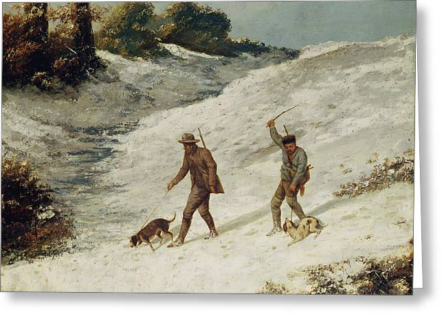 Dog In Snow Greeting Cards - Hunters in the Snow or The Poachers Greeting Card by Gustave Courbet