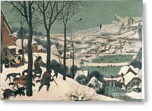 Dogs Paintings Greeting Cards - Hunters in the Snow Greeting Card by Pieter the Elder Bruegel