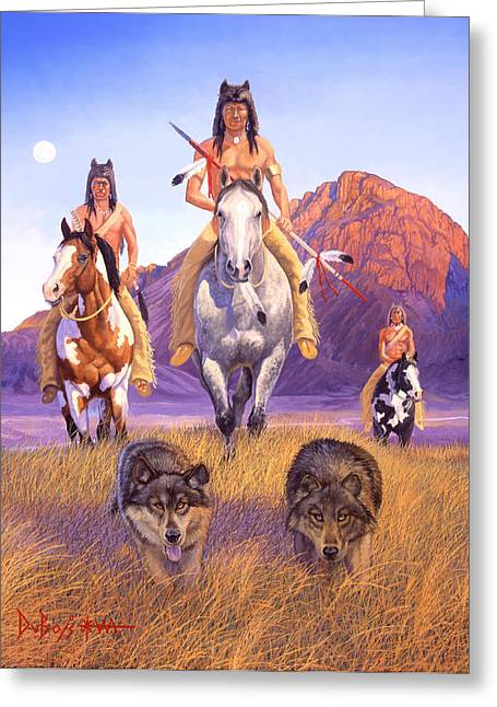 Indian Art Greeting Cards - Hunters Of The Full Moon Greeting Card by Howard Dubois