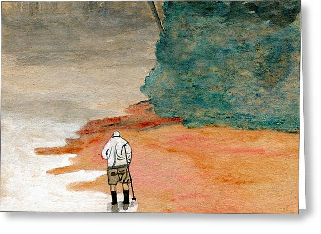 Agate Beach Paintings Greeting Cards - Hunting Agates on a Foggy Shore Greeting Card by R Kyllo