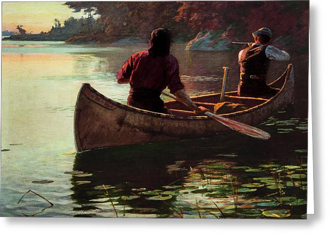 Schooner Greeting Cards - Hunting by Canoe Greeting Card by Edward Henry Potthast