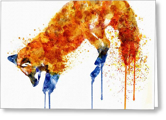 Dripping Paint Greeting Cards - Hunting Fox Watercolor Painting Greeting Card by Marian Voicu