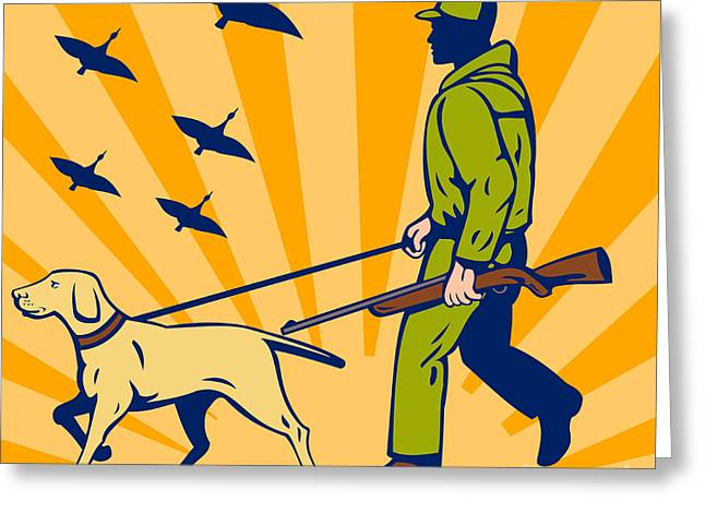 Dog Walking Digital Art Greeting Cards - Hunting Gun Dog Greeting Card by Aloysius Patrimonio