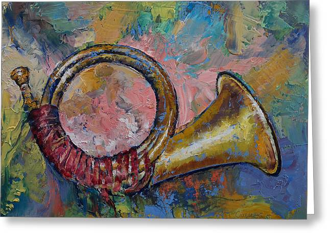 Musica Greeting Cards - Hunting Horn Greeting Card by Michael Creese