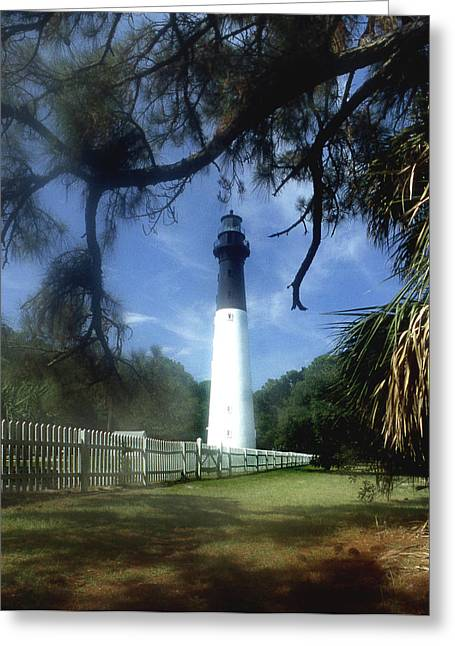 Barrier Island Greeting Cards - Hunting Island Lighthouse Sc Greeting Card by Skip Willits