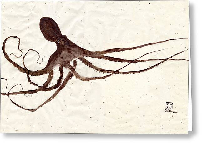 Fish Rubbing Greeting Cards - Hunting Octopus Gyotaku Greeting Card by Odessa Kelley