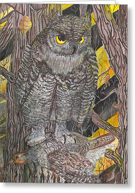 Snowy Night Night Greeting Cards - Hunting Owl Greeting Card by Darren Cannell