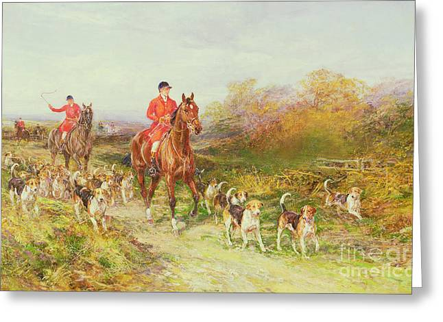 Autumn Scenes Greeting Cards - Hunting Scene Greeting Card by Heywood Hardy