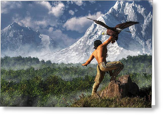 Remington Greeting Cards - Hunting with an Eagle Greeting Card by Daniel Eskridge