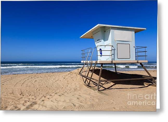 Shack Greeting Cards - Huntington Beach Lifeguard Tower Photo Greeting Card by Paul Velgos