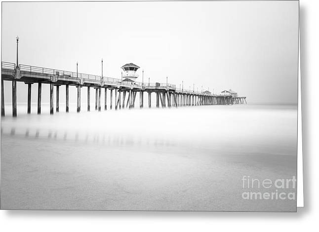 Foggy Ocean Greeting Cards - Huntington Beach Pier in Black and White Greeting Card by Paul Velgos