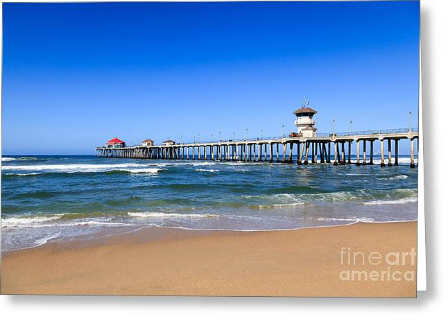 Huntington Beach Greeting Cards - Huntington Beach Pier in Orange County California Greeting Card by Paul Velgos