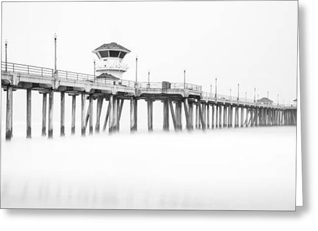 Foggy Ocean Greeting Cards - Huntington Beach Pier Panorama in Black and White Greeting Card by Paul Velgos