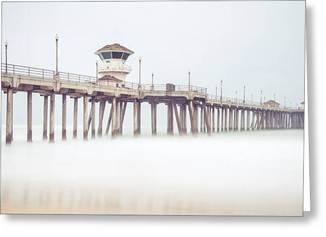 Foggy Ocean Greeting Cards - Huntington Beach Pier Panorama Photo Greeting Card by Paul Velgos