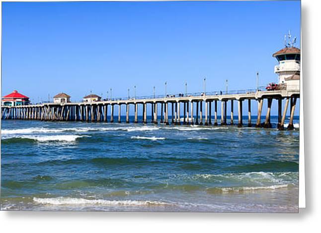 Huntington Beach Pier Panoramic Photo Greeting Card by Paul Velgos