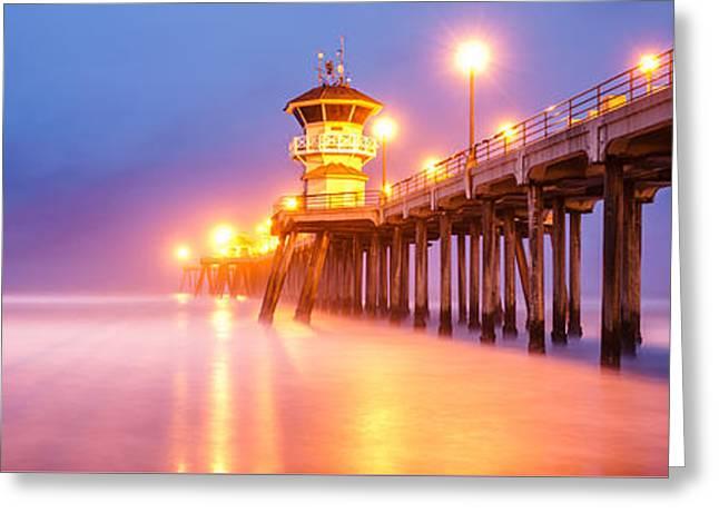 Huntington Beach Pier Greeting Cards - Huntington Beach Pier Sunrise Panorama Photo Greeting Card by Paul Velgos