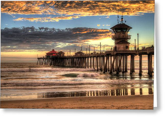 Recently Sold -  - Surf City Greeting Cards - Huntington Beach Pier The Last Set Greeting Card by Zoe Schumacher