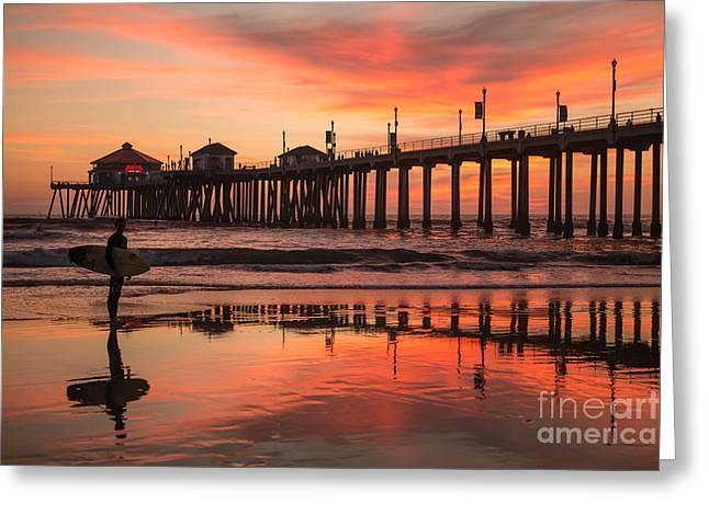 Surf City Greeting Cards - Huntington Beach Pier Greeting Card by Greg  Sabo