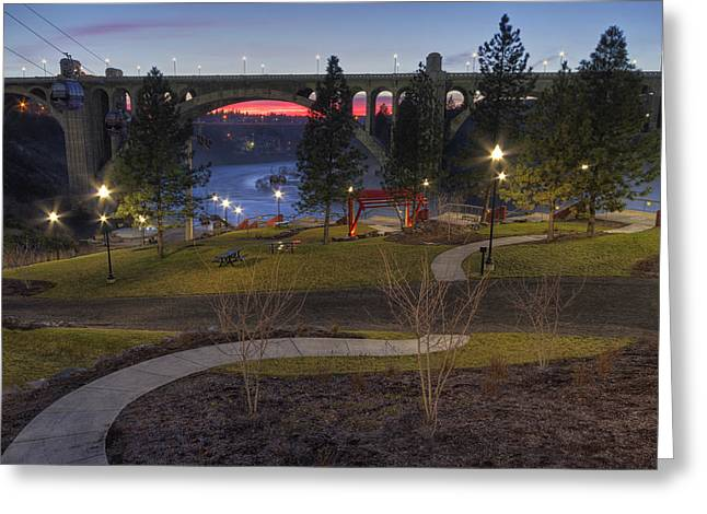 Huntington Park Sunset - Spokane Greeting Card by Mark Kiver