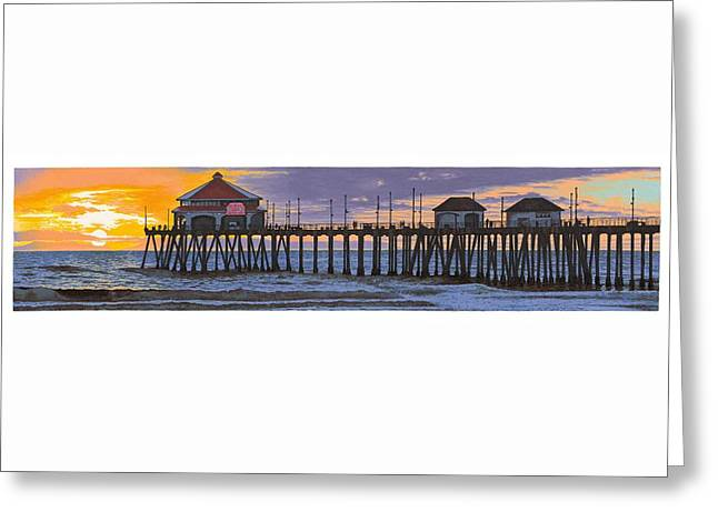 Huntington Pier Sunset Greeting Card by Andrew Palmer