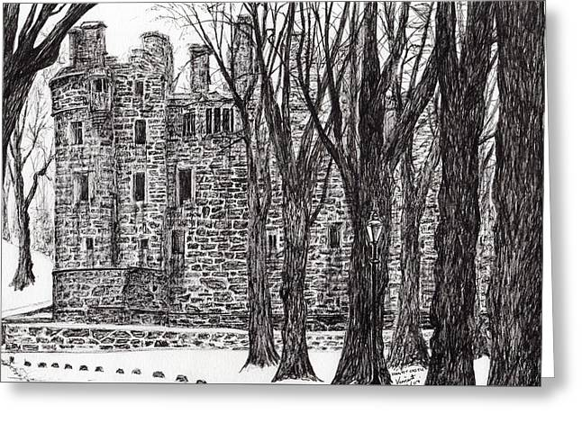 Woodland Scenes Drawings Greeting Cards - Huntly Castle Greeting Card by Vincent Alexander Booth